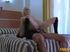 Sexy Spanish Blonde exhibitionist fucked by Policeman