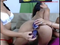 Fat ebony lesbian duo with toys