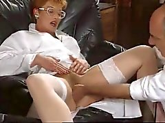 mature redhead french nurse get fucked by two huge dicks