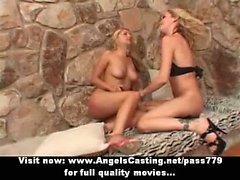 Lesbian couple in 69 and toying pussy with blue vibrator on floor
