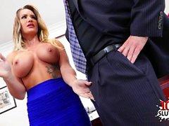 Grandes mamas secretária sexo com ejaculação
