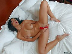 Busty asian doll Katsuni gets caught masturbating