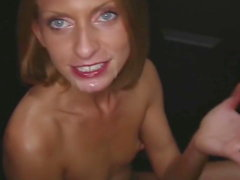Skinny Gloryhole Blonde pumps and swallows Cum like a Pro