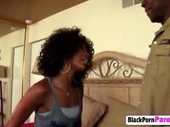 Skinny Ebony Babe Fucked Hard From Behind