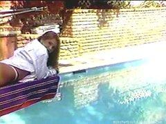 Busty Redheaded Goddess Tara Monroe Masturbates by pool