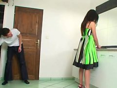 Amazing teen in high heels dominates him
