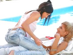 Naughty girly lovers by the pool side