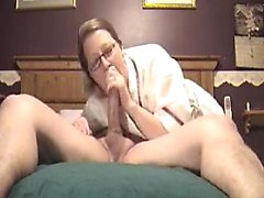 Naughty secretary with glasses shows off her deepthroating