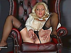 Posh Mother I'd Like To Fuck Leggy Lana teases in sheer stockings and copulates love tunnel with glass toy
