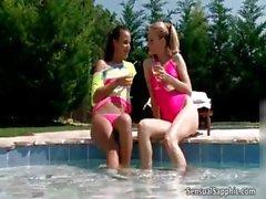 Sexy lesbians in bikini get horny making