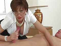 Lady in nylons footjob with cum on wobblers