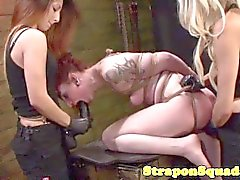 Lesbian sub tied and straponfucked