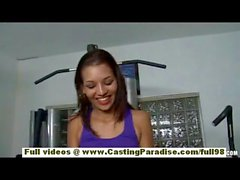Cassie Cruz petite brunette latina girl masturbating in the gym