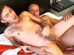Dad cums in twink's mouth