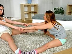 Sexy stretching by Sapphic Erotica - sensual lesbian scene