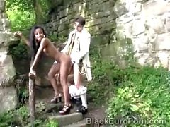 Sexy ebony maid blows the princes hard cock before getting fucked from the back