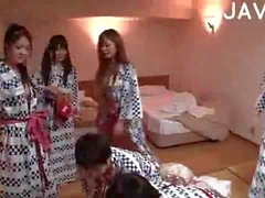 Asian babes fucked in group sex