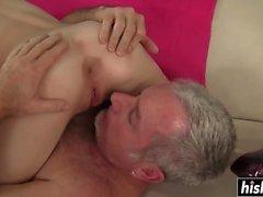 Petite slut gets a huge cock