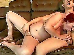 Fat redheaded granny gets fucked