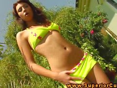 Hot big titted amateur solo plays in sun