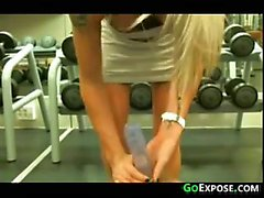 Blonde At The Gym Without Panties