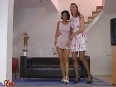 Pussy tongued heeled teen