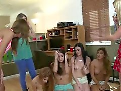 College Girls Fooling Around Together At Hazing Party