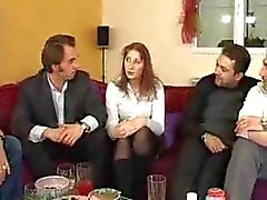 French woman fucks with 4 men