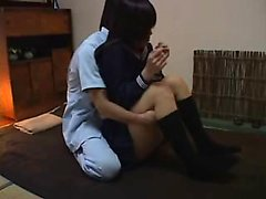 Adorable Japanese schoolgirl has a masseur caressing her sw