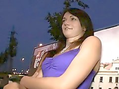 Hot brunette girl creampie in public park at night