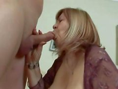 Nasty Chubby blonde granny bares her wrinkly old crotch for a young cock fuck