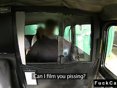 British babe in pantyhose fucking in fake taxi