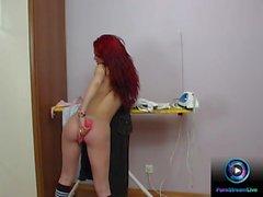 Petite redhead inserts a huge dildo on her fresh twat