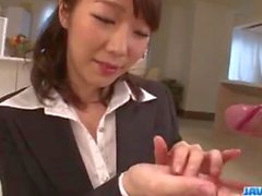 Hitomi Oki looks eager to palce this dick up her hairy twat