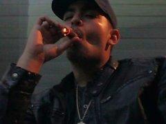 Smoking Macanudo Maduro Cigar In Leather Jacket Hat Rainy Las Vegas Night