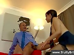 Brunette getting naughty with old man