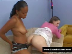 Zebra Girls - Ebony lesbian babes fuck deep strapon toys 22