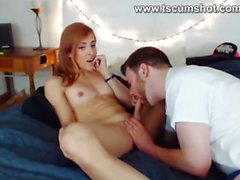 Transsexual receives blowjob from boyfriend on Cam
