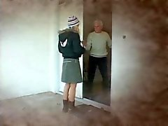 Blonde prisoner blows an old man and receives a facial