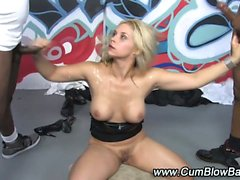 Interracial hot blonde gets facials