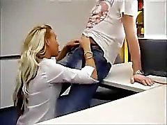 Cute blond fucked at the office
