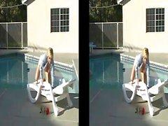 Danni Ashe Strips Down At Poolside (Split Screen Version)
