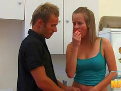 Teen is tasting and engulfing studs cock hungrily