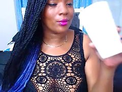 Hot ebony with big boobs on webcam