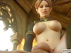 Shemale 3D hentai Eralin and Merlin sucking b