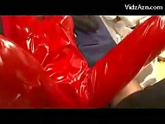 Girl In Latex Superhero Dress Giving Blowjob Getting Her Pussy Fucked Cum To Dress