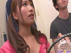 Sporty Girl Suzu Minamoto Gets Three Cocks To Suck