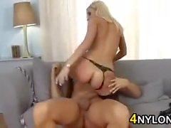 Blonde Slut In Nylons Loves Anal