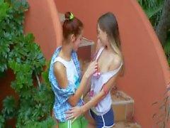 Ivanas slaves of lesbo orgasm outside