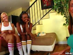 Fours babes play with a dildo